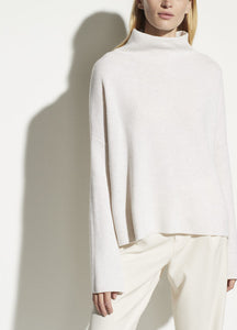 Vince Cashmere Blend Funnel Neck Sweater in Heathered White
