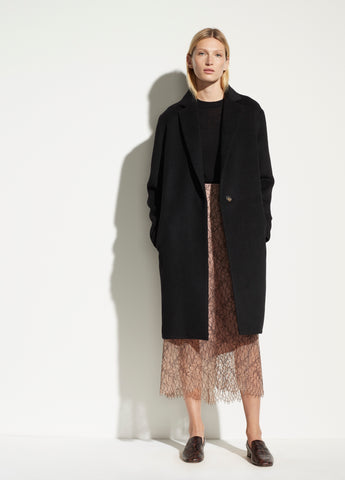 Vince Wool Blend Classic Coat in Black