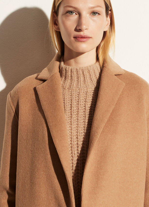 Vince Wool Blend Classic Coat in Camel