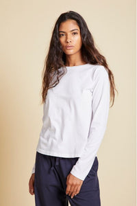 Velvet Vicente Organic Jersey Crew Long Sleeve in White