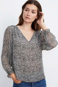 Velvet Vika Printed Viscose 3/4 sleeve top in Leopard
