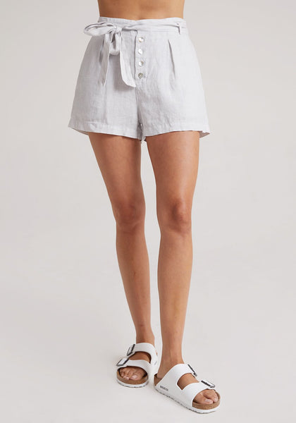 bella dahl linen belted button front short