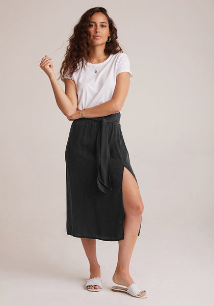 bella dahl cashmere touch tencera smocked back belted midi skirt