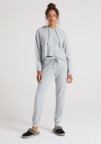 bella dahl Cashmere Wide Rib Jogger in Heather Grey