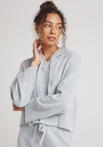 bella dahl Cashmere Sweater Hoodie in Heather Grey