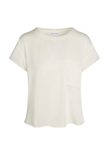 bella dahl Ecovera Satin S/S Pocket Tee in Pearl White