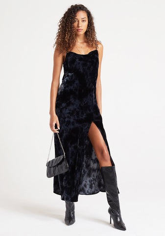 bella dahl Slip Dress in Black Crystal Velvet Tie Dye