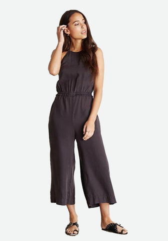 bella dahl Smocked Back Crop Jumpsuit - Carbon Grey