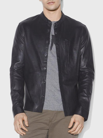 John Varvatos WYATT LEATHER SNAP FRONT SHIRT