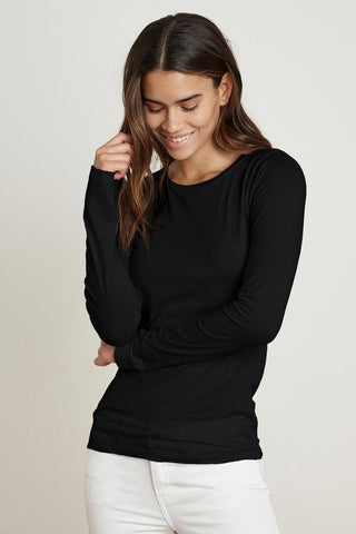 Velvet Zofina Gauzy Whisper Classic L/S Top in Black