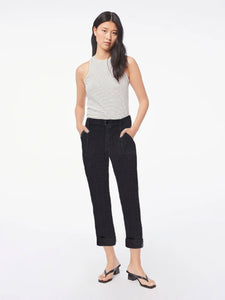 FRAME Le Beau Linen Pant in Washed Noir