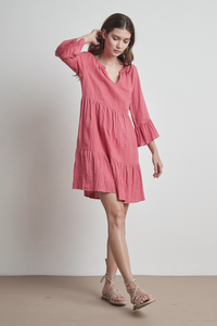 Velvet Aurora Woven Linen 3/4 Sleeve Dress