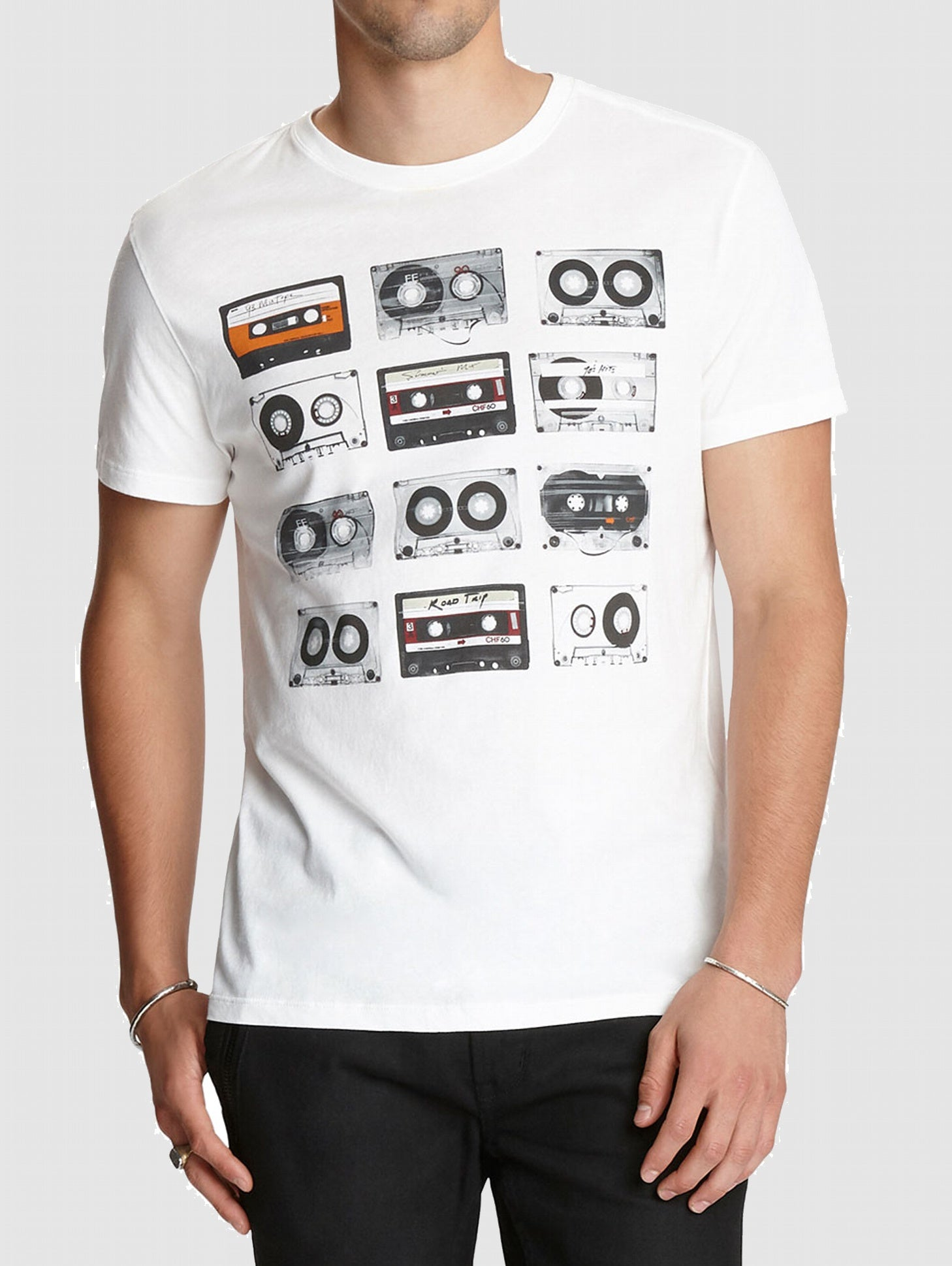 John Varvatos Tapes Graphic Tee -Salt