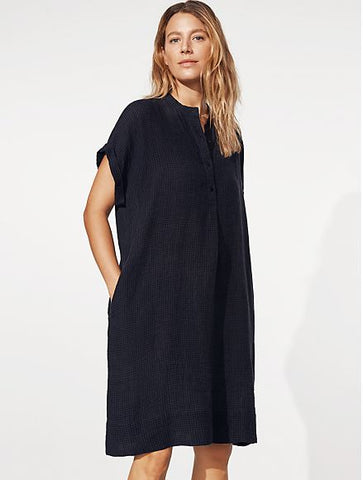 Eileen Fisher Organic Linen Check Stand Collar S/S Dress