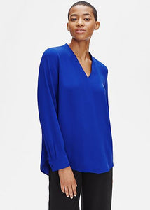 Eileen Fisher V-Neck Silk Georgette Crepe L/S Top