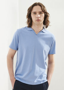 Patrick Assaraf Pima Cotton Stretch SS Johnny Collar - Light Blue
