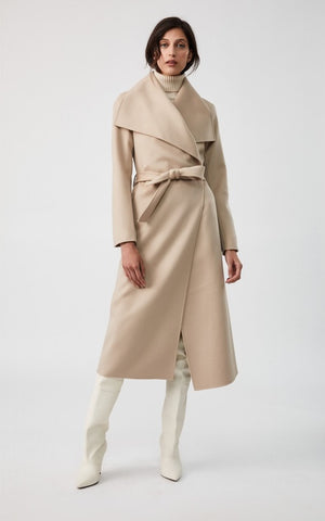 Mackage Mai-R Light Wool Wrap Coat in Sand