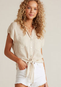 bella dahl tissue linen two pocket fray edge shirt w tie front - Safari Khaki