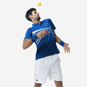 Lacoste Men's SPORT Novak Djokovic Collection Tech Jersey Polo Blue/White