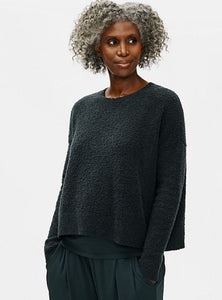 Eileen Fisher Crew Neck Box Top in Forest Night