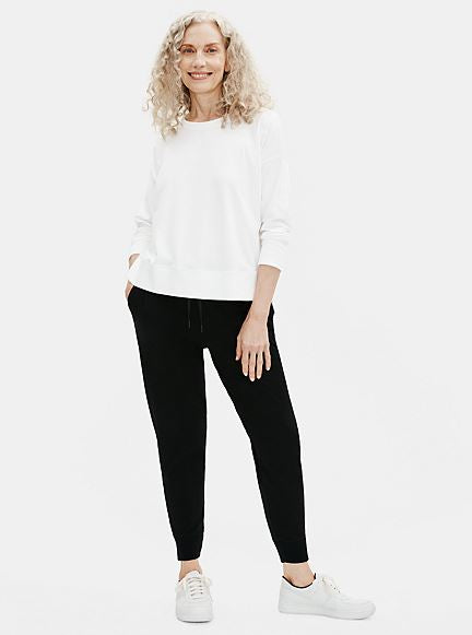 Eileen Fisher Crew Neck Top With Hi Low Hem in White
