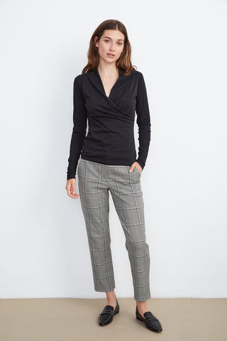 Velvet Abigail Pant in Black Plaid