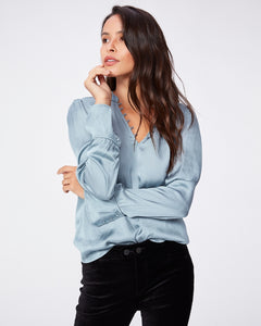 Paige Lizzy Blouse w Cuff Detail in Stone Blue