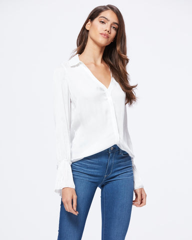 Paige Abriana Flared Cuff Shirt in White