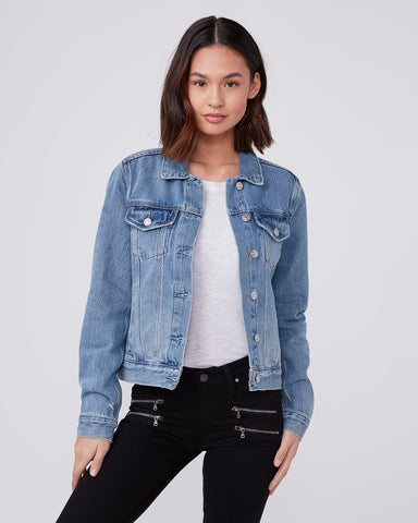 Paige Rowan Jean Jacket in Razz Distressed