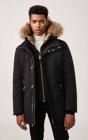 Mackage Men's EDWARD-R Black hip length down winter parka with fur