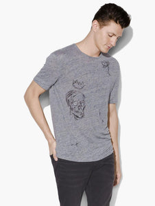 John Varvatos S/S LINEN ART CREW WITH DRAWINGS