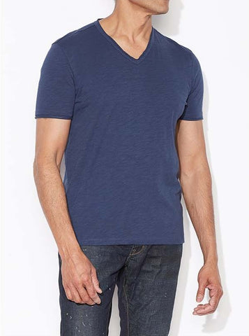 John Varvatos Raw Edge V Neck Tee - Oiled Blue