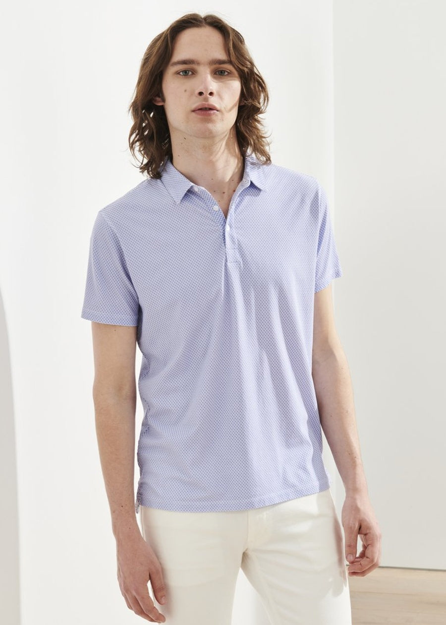 Patrick Assaraf SS All Over Print Polo - China Blue