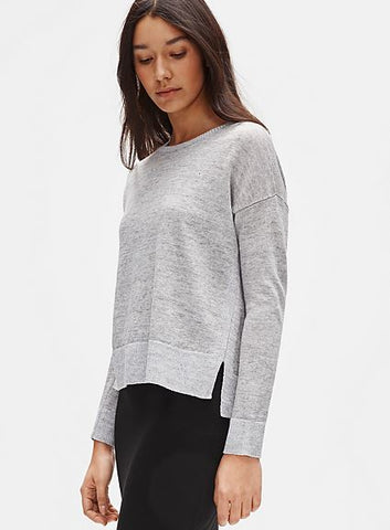 Eileen Fisher Round Neck Box Top in Organic Linen Melange