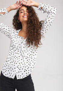 bella dahl Two Color Dot Hipster Shirt B2893-A38-304