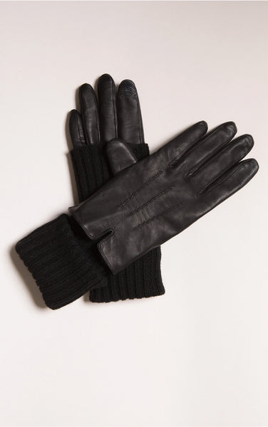 Soia&Kyo CarmelF6 Leather Rib Knit Gloves