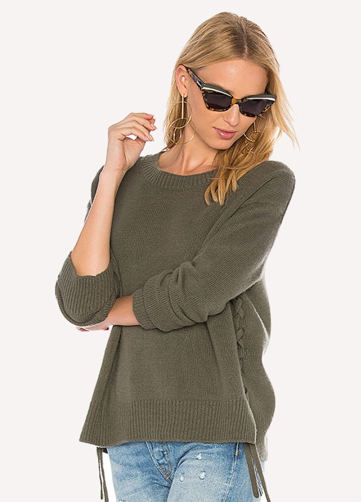 Vince Cashmere Lace-Up Pullover