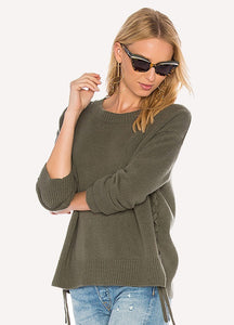 Vince V4170-77482F7 Cashmere Lace-Up Pullover