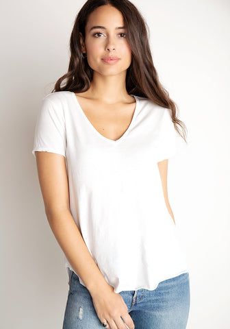 bella dahl B4354-940-303 Raw Edge V-Neck Tee