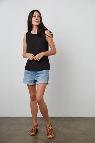 Velvet Taurus Cotton Slub Sleeveless Top in Black