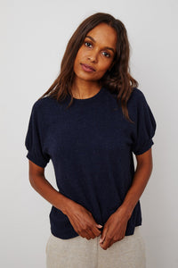 Velvet Melina04 Cozy Lux Short Sleeve Top in Navy