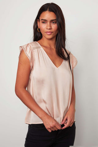 Velvet Isabelle Crinkle Viscose Lace Short Sleeve Top in Blush