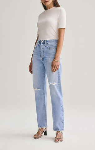 AGoldE Women's 90's Mid Rise Loose Fit Jean in Captured
