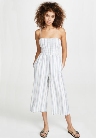 bella dahl Smocked Crop Wide Leg Jumpsuit  Marina Stripe