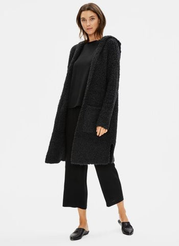 Eileen Fisher Hooded Long Cardigan in knit fur