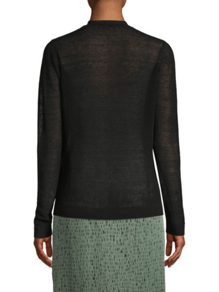 Eileen Fisher Organic Linen V-neck Cardigan - Black
