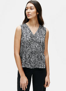 Eileen Fisher V-Neck Printed Silk Organic Cotton Sleeveless Top