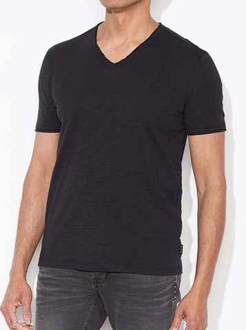 John Varvatos Raw Edge V Neck Tee - Black