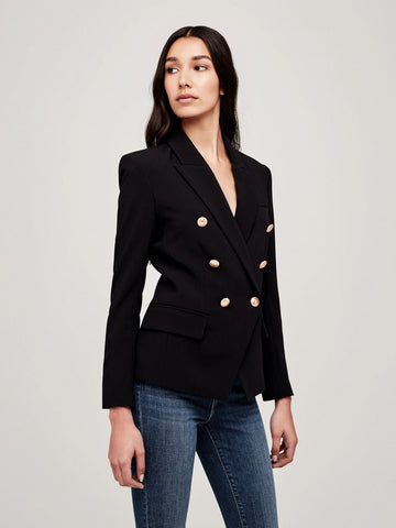 L'AGENCE Kenzie Double Breasted Blazer in Black