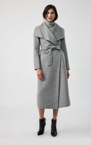 Mackage Mai-R Light Wool Wrap Coat in Light Grey